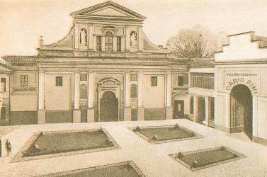L'ex convento di S. Agostino, sede del convitto Dario Pini, in una cartolina degli anni '30