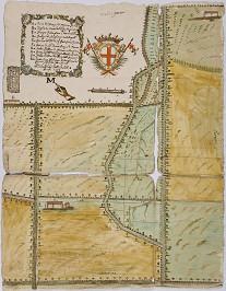 Stemma comunale, legenda e manicula in un disegno a china acquerellato del 1709, relativo ai confini con Marene
