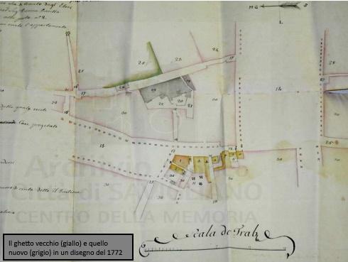 Il ghetto vecchio (in giallo) e il ghetto nuovo (in grigio) in un disegno del 1772