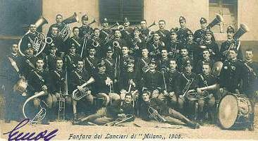 Fanfara del Lancieri di Milano nel 1905 a Savigliano.